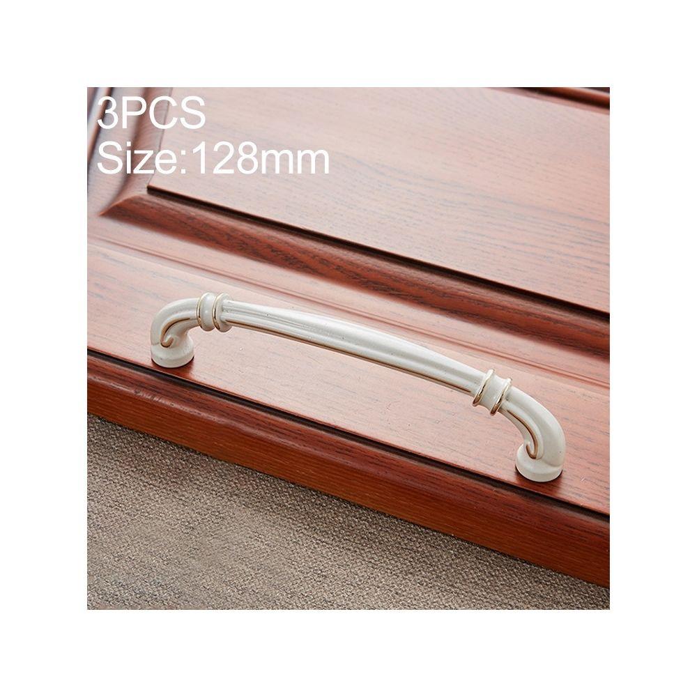Wewoo Poignée d'armoire 3 PCS 6569-128 de porte à tiroir en bois de pêche blanc