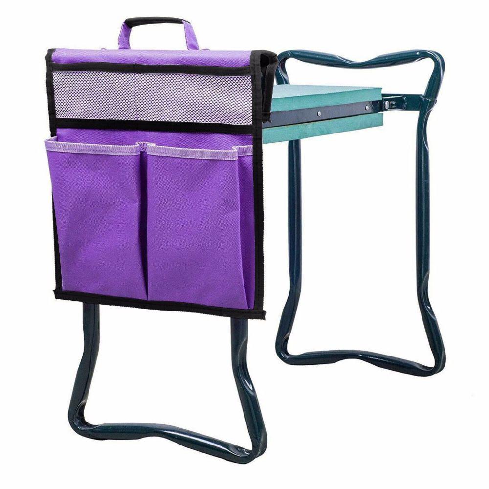 Generic Pliable jardin Siège Sac à outils extérieur travail portable Tabouret de rangement poche Violet