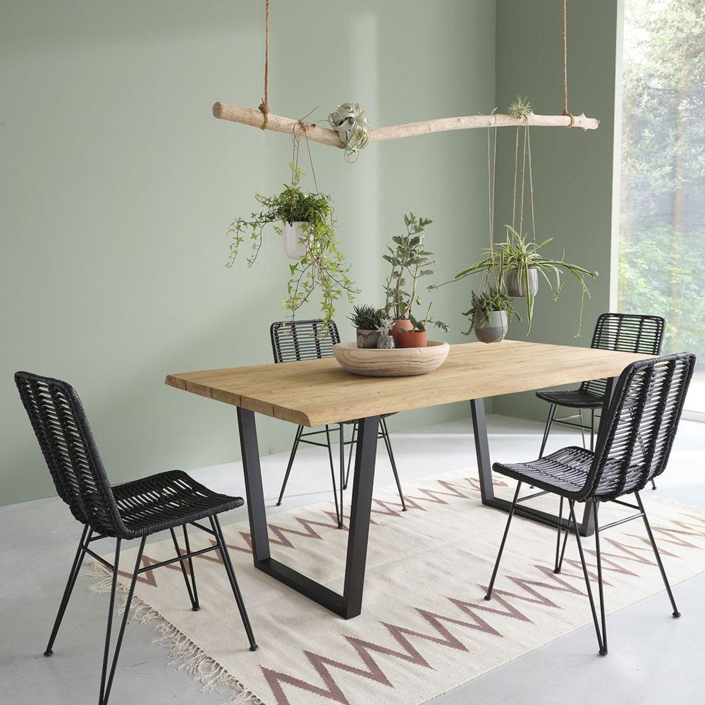 Bois Dessus Bois Dessous Table en bois de teck recyclé et métal 8 places