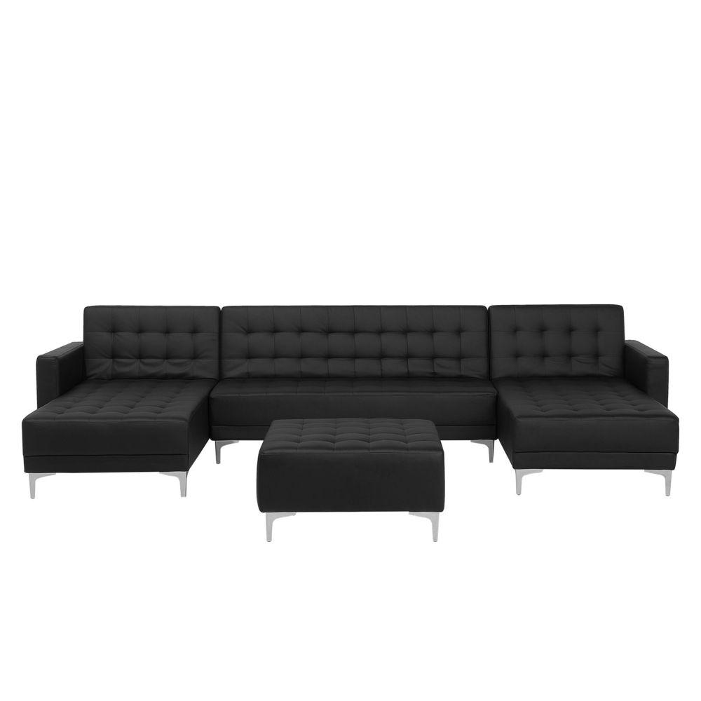 Beliani Canapé en forme de U convertible en simili-cuir noir avec pouf ottoman ABERDEEN