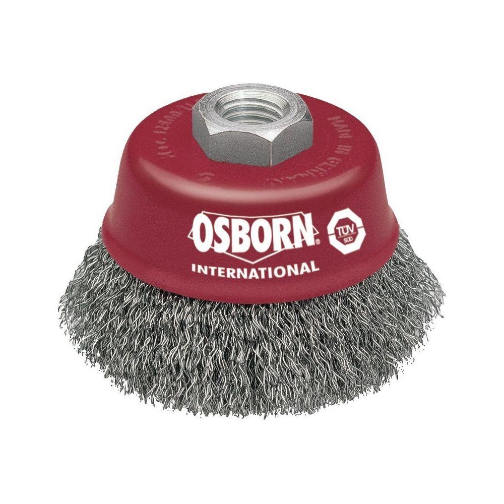 Osborn Brosse boisseau pour meuleuse - d75 mm-m 4 x 2 fils ondulés 0,30 mm, rouge