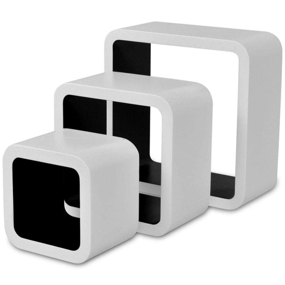 Helloshop26 Étagère armoire meuble design murales forme de cube 6 pcs blanc et noir 2702248/2