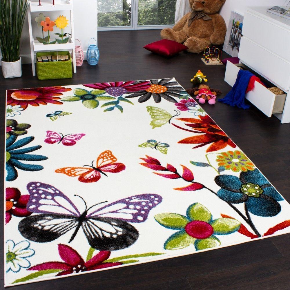 Paco-Home Tapis Chambre d'Enfant Papillons Multicolore Crème Rouge Orange Vert Bleu