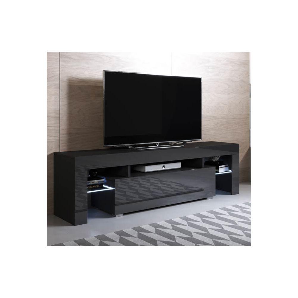 Design Ameublement Meuble TV modèle Unai (160x45cm) couleur noir avec LED RGB