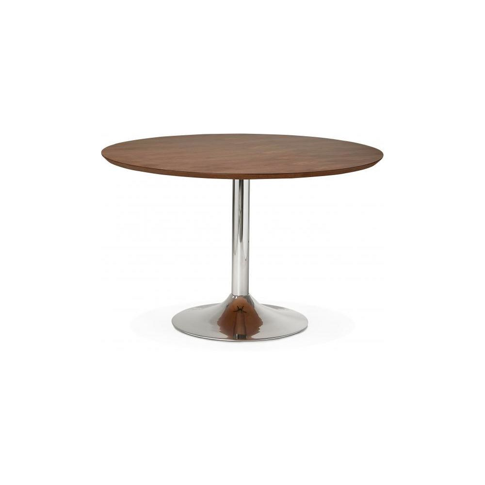 Declikdeco Table à Manger Ronde Noisette Pied Métal D120 BARNET