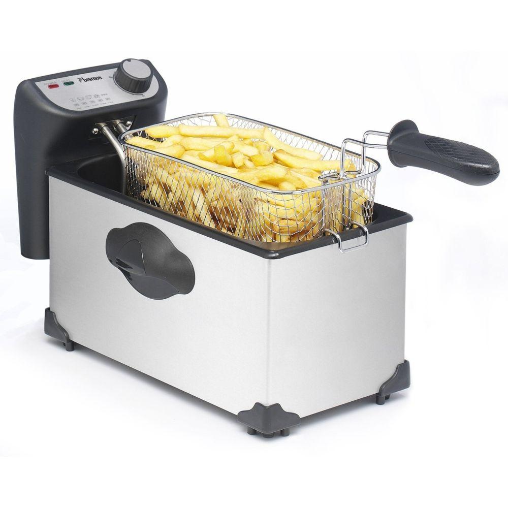 Bestron Friteuse en inox cuve émaillée de 3,5L pour 1kg frites - 2200W