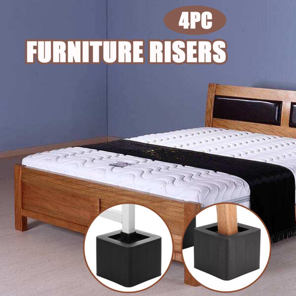 Generic Risers de meubles de lit, contremarches carrées empilables pour sofa, table, chaise se soulève - Noir