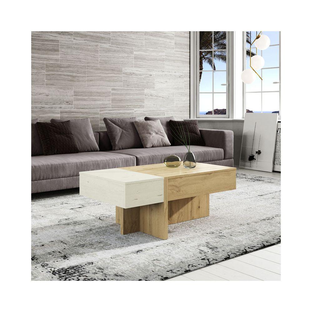 Tousmesmeubles Table basse relevable Bois blanc/Chêne blond - AJAR