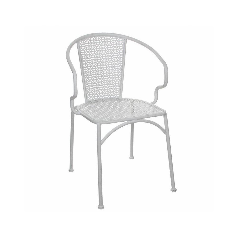 L'Héritier Du Temps Chaise de Salon de Jardin Siège de Salon Intérieur Extérieur Fauteuil en Métal Patiné Blanc 54x55x80cm