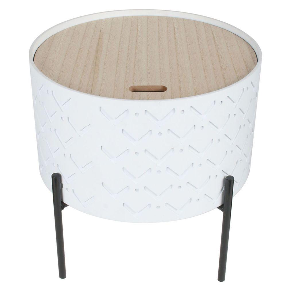 The Home Deco Factory Table d'appoint avec coffre Scandi - Diam. 35 x H. 35 cm - Blanc