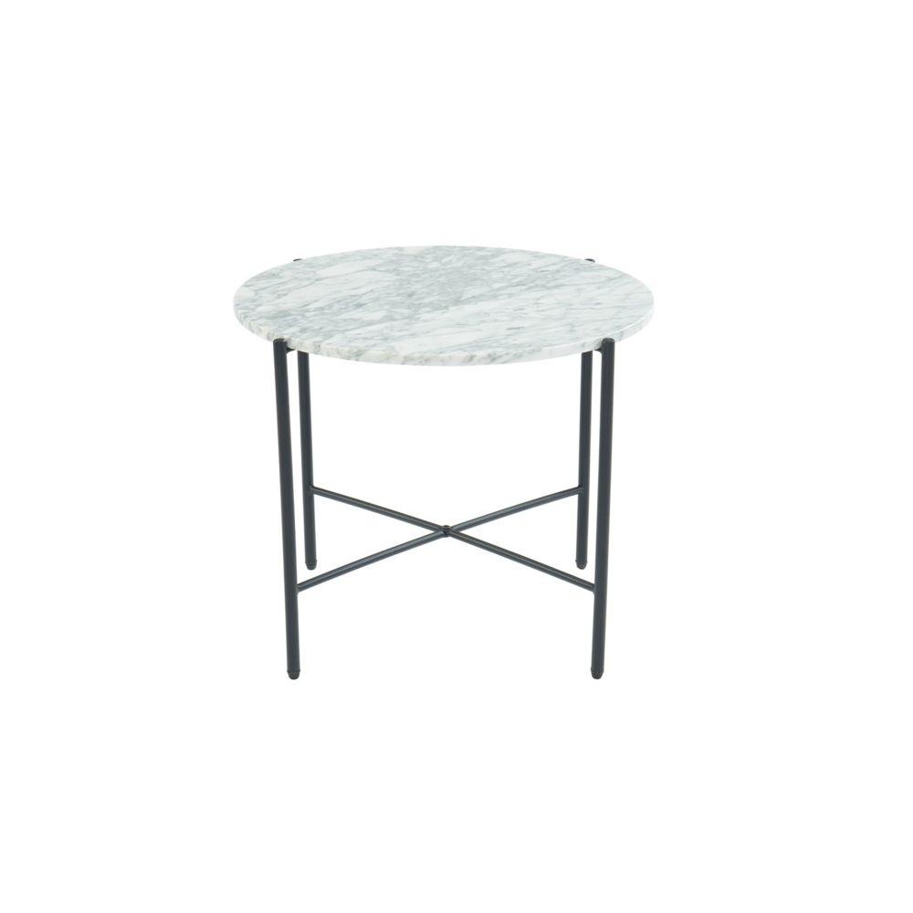 Homifab Table d'appoint ronde 55 cm en marbre blanc et pieds en métal noir - Collection Telma.