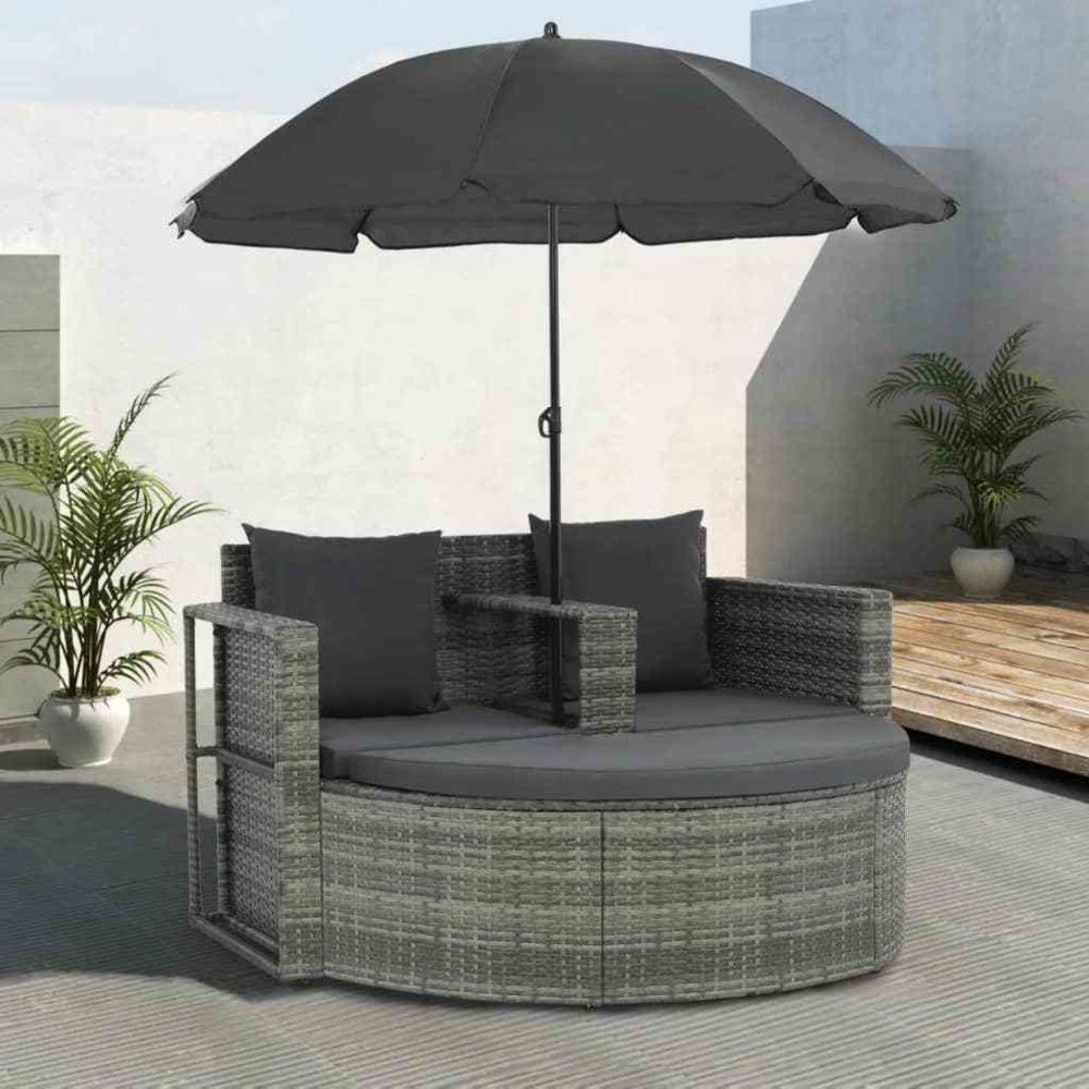 Vidaxl Canapé d'extérieur à 2 places avec parasol Résine tressée Gris - Sièges d'extérieur - Canapés d'extérieur | Gris | Gris