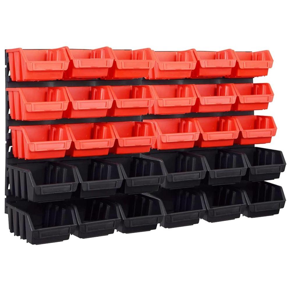 Vidaxl vidaXL Kit de bacs de stockage et panneaux muraux 32 pcs Rouge et noir