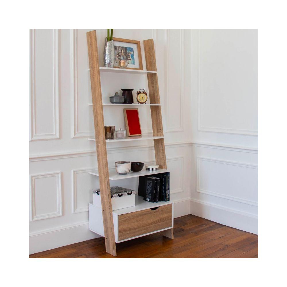 Idmarket Étagère échelle scandinave bois blanc et façon hêtre