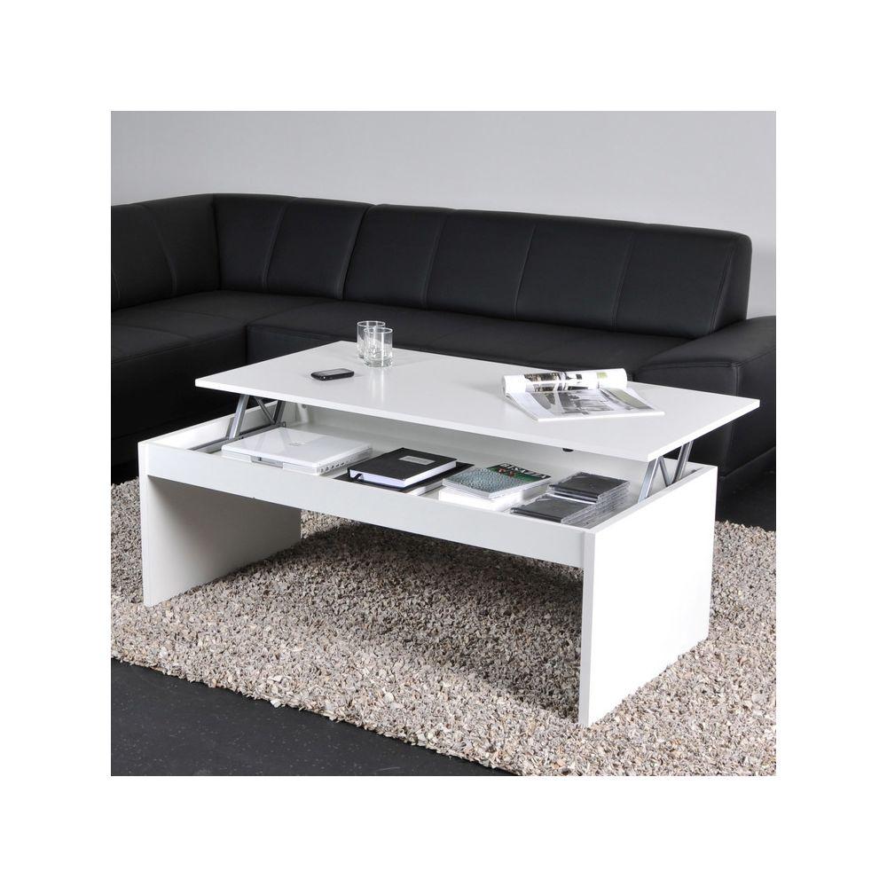 Weber Industries Table basse relevable rectangulaire en bois blanc DARWIN