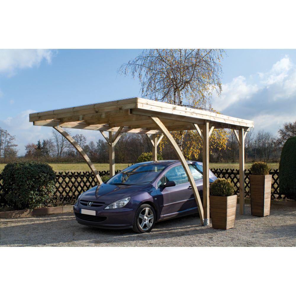 Jardipolys Carport autoportant MILANO UNO - couverture polycarbonate - 1 voiture