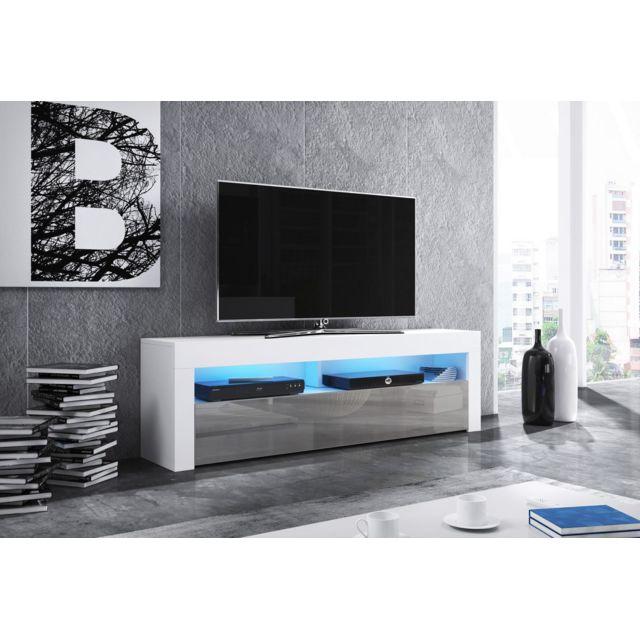 vivaldi meuble tv mex 2 140 cm blanc mat gris brillant led style