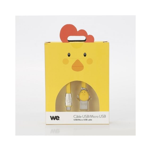 We -Câble poule USB / Micro USB plat 1m - Jaune We  - Câble et Connectique We