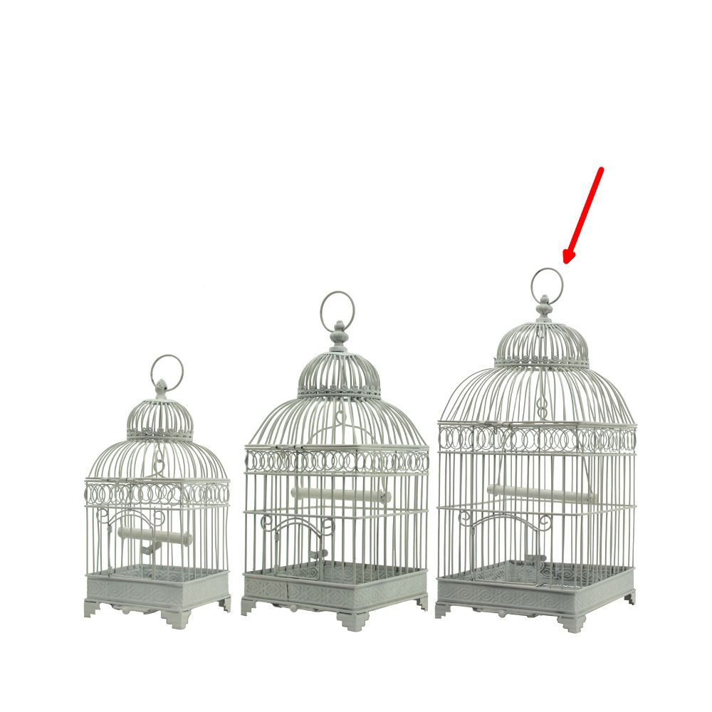 L'Originale Deco Grande Cage à Oiseaux Carré Blanc 57 cm x 25.50 cm x 25.50 cm