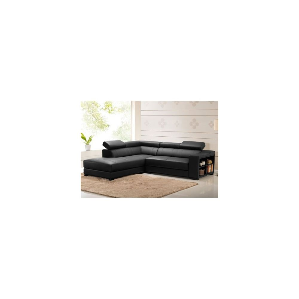 Vente-Unique Canapé d'angle cuir LEEDS - Noir - Angle gauche