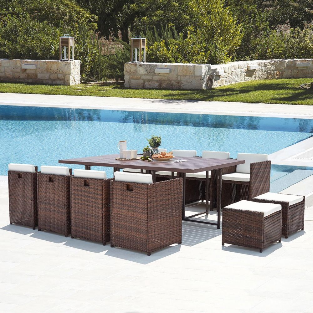 Concept Usine Sunset 12 : salon de jardin encastrable 12 places en résine tressée et aluminium marron/blanc