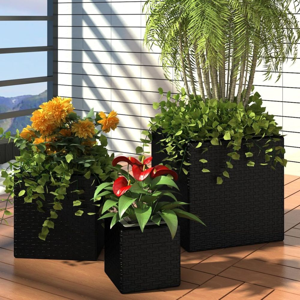 Vidaxl Lot de 3 Pots de fleurs Carré en Rotin Noir | Noir
