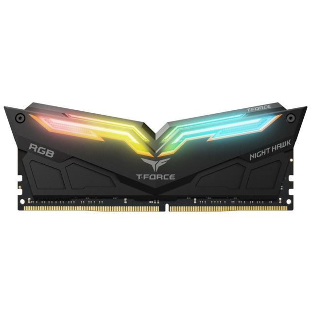 T-Force - Night Hawk - 2 x 8 Go - DDR4 4000 MHz - RGB - Noir - RAM PC