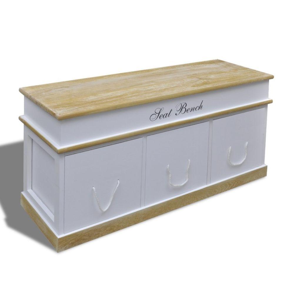 Helloshop26 Banquette banc coffre de rangement 100 cm blanc 3002017