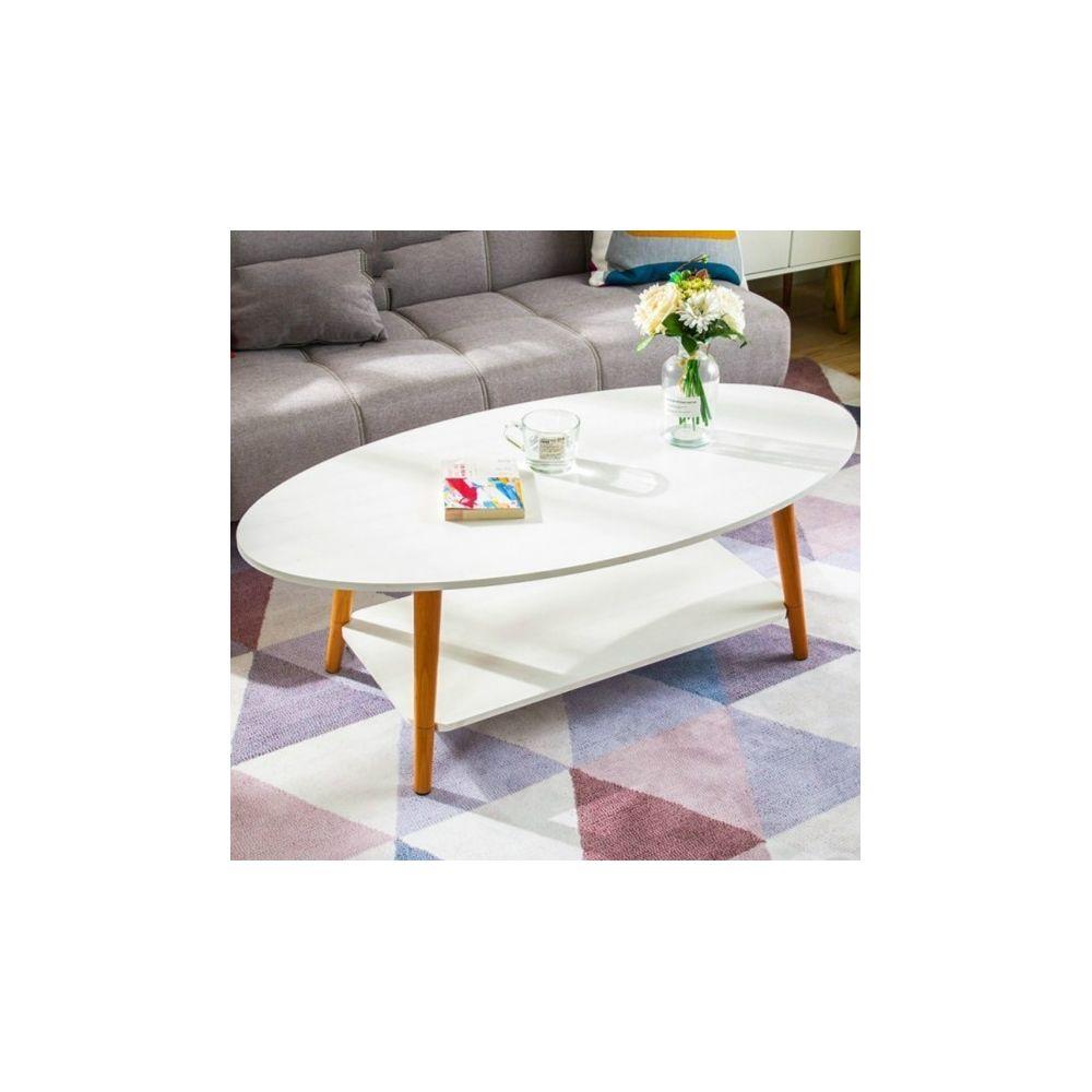 Wewoo Tables de café meubles de en bois massif ovale table basse canapé d'appoint bureau d'assemblage blanc chaud 120x60x42cm