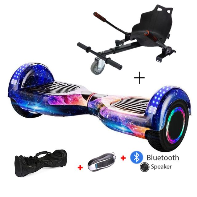Mac Wheel -6,5 pouces trois ciel Gyropod Overboard Hoverboard Smart Scooter + Bluetooth + clé à distance + sac + Roue LED + hoverkart Mac Wheel  - Gyropode, Hoverboard