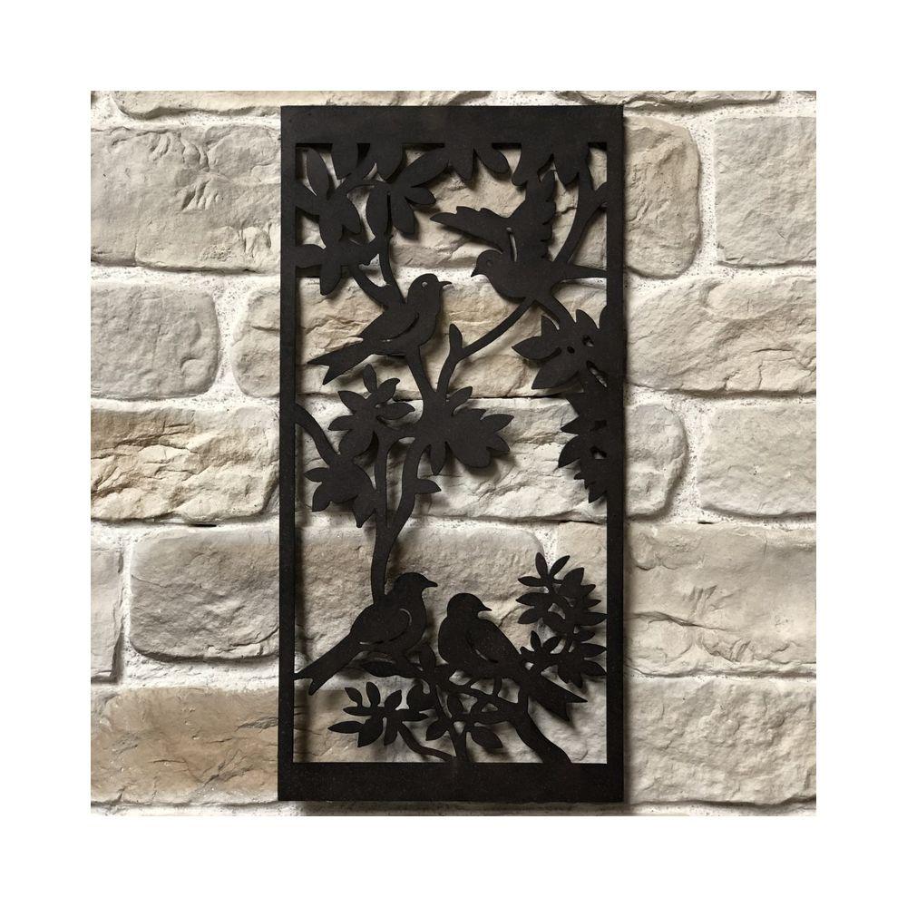 L'Originale Deco Fronton Applique Grille Murale de Décoration Métal Fer 91cm x 45cm Oiseaux dans un Arbre