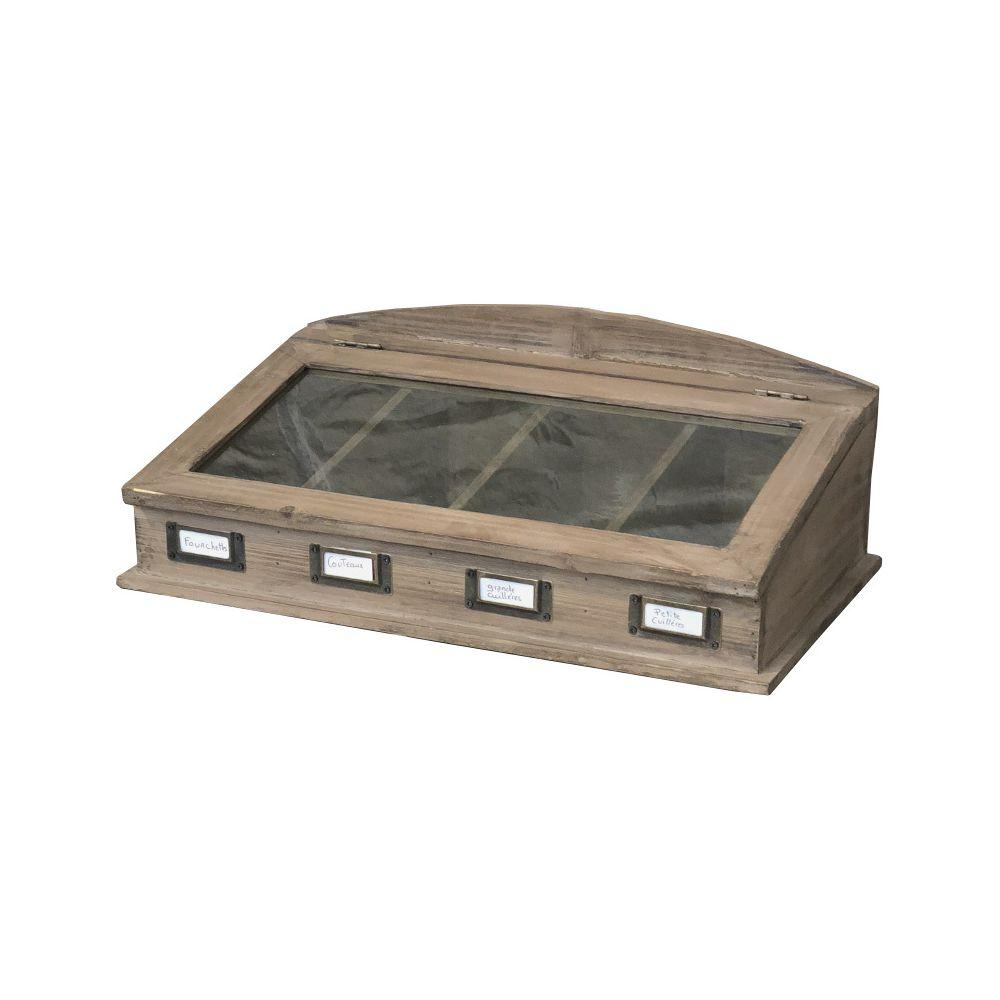 L'Originale Deco Boîte Rangement Coffret Bois Vitrée 47 cm x 27 cm x 16 cm