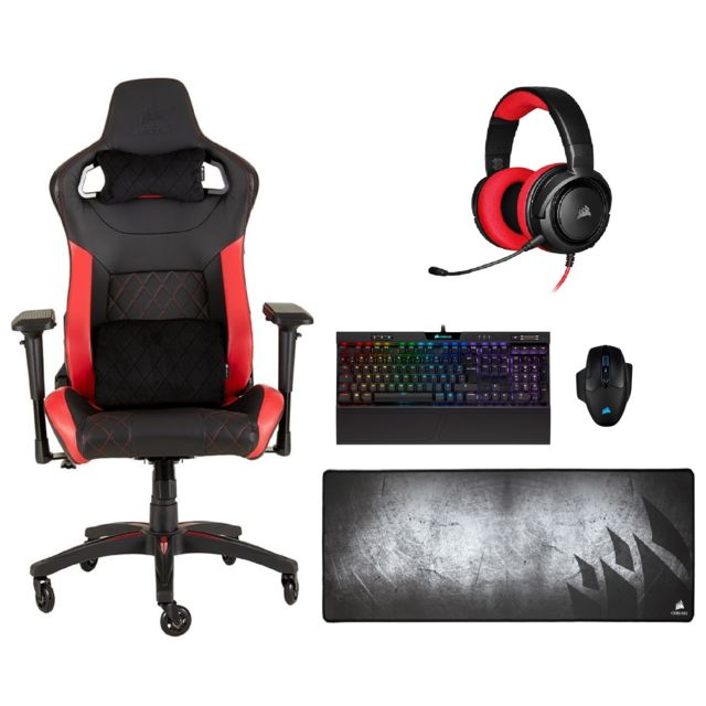 Corsair - T1 Race 2018 - Noir/Rouge + CORSAIR HS35 (Rouge) + MM300-Extended + K70 MK.2 Low Profile RAPIDFIRE - RGB + Dark Core RGB Pro - Corsair