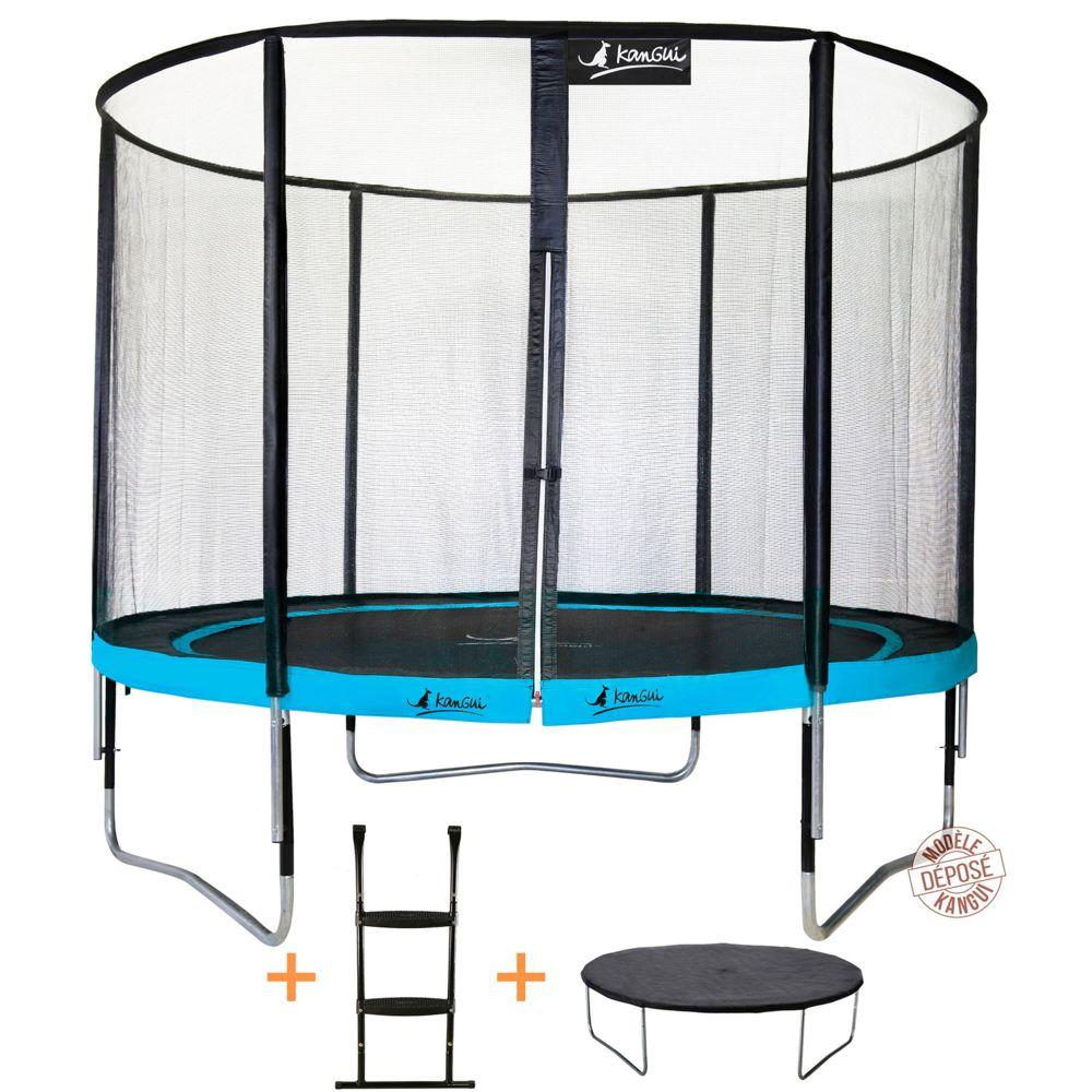 Kangui Kangui - Trampoline de jardin rond 305 cm + filet de sécurité + échelle + bâche de protection PUNCHI Bleu 300