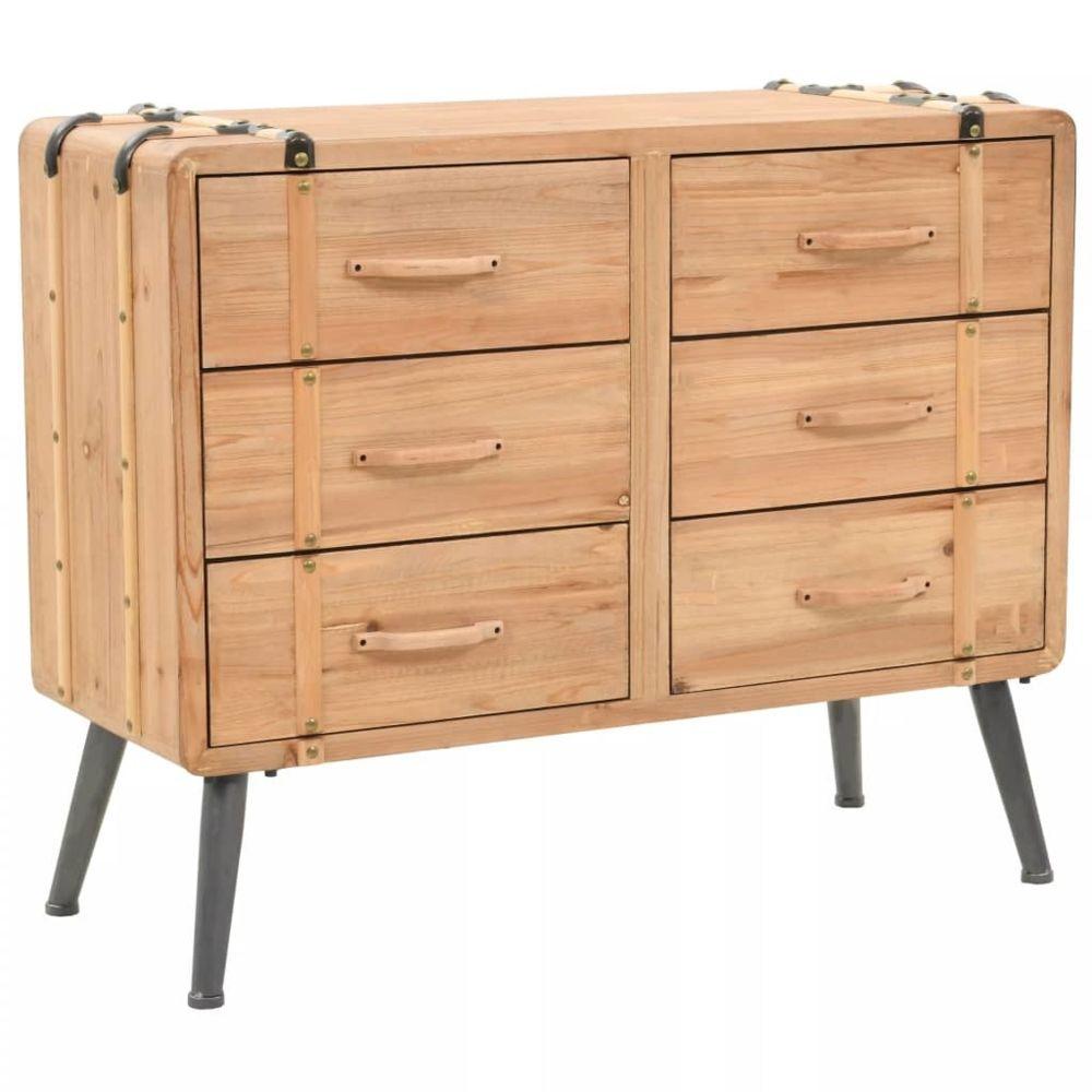 Vidaxl Armoire à tiroirs bois de sapin massif 91 x 35 x 73 cm   Brun - Casiers et armoires de rangement   Brun   Brun