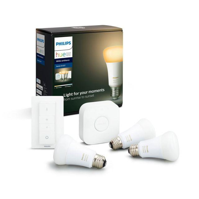 Philips Hue - Pont de connexion + Dim Switch + 3 Ampoules E27 White