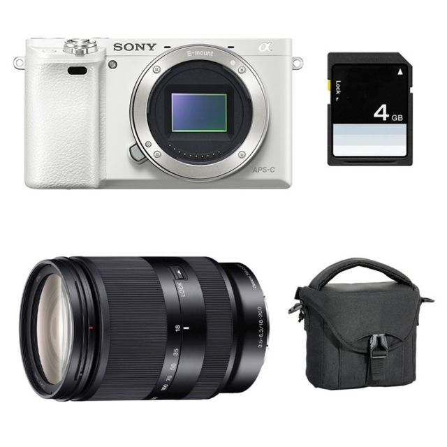 Sony - PACK SONY ALPHA 6000 BLANC + 18-200 LE + Sac + SD 4 Go - Pack appareil photo