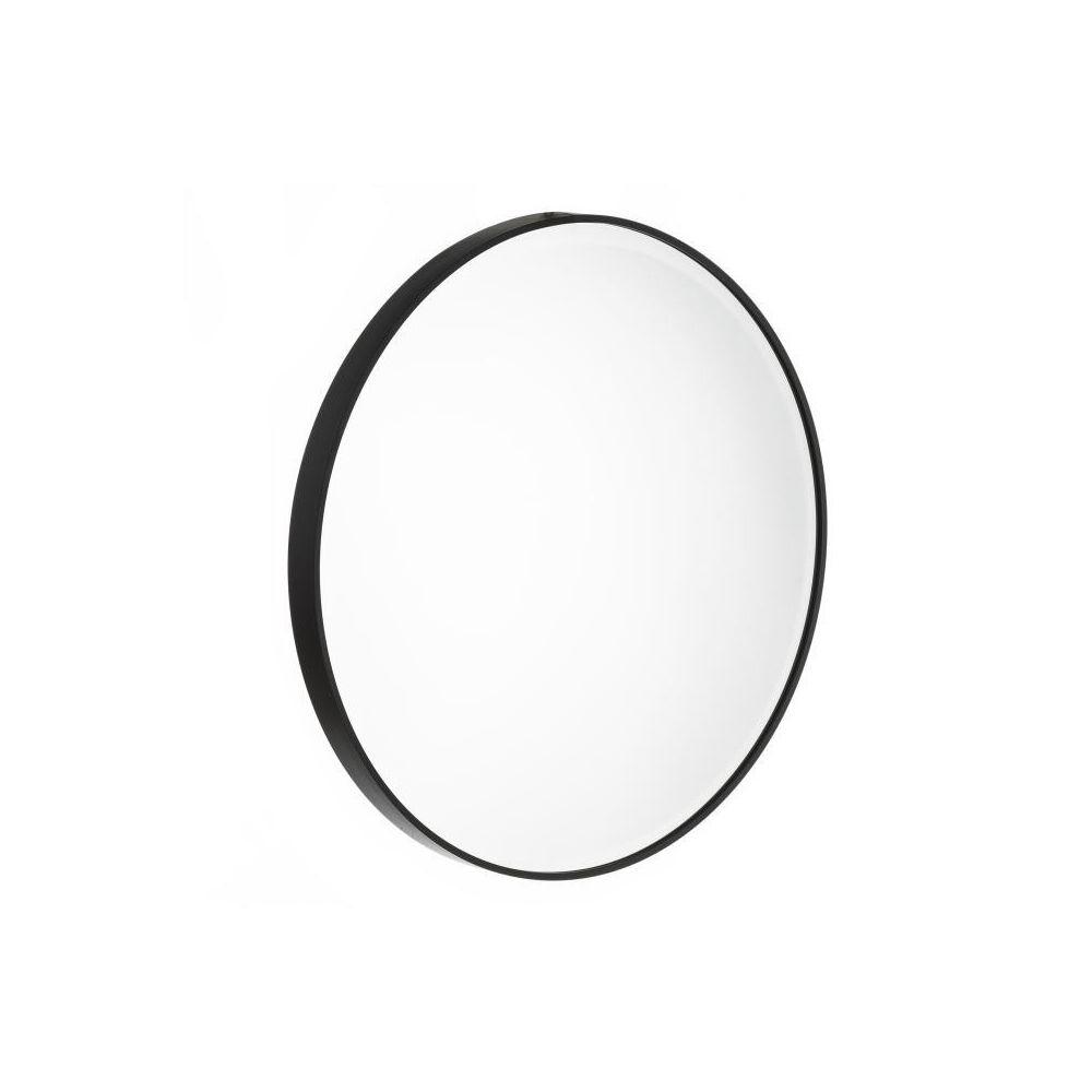 Tousmesmeubles Miroir rond Métal noir taille M - KANSAS