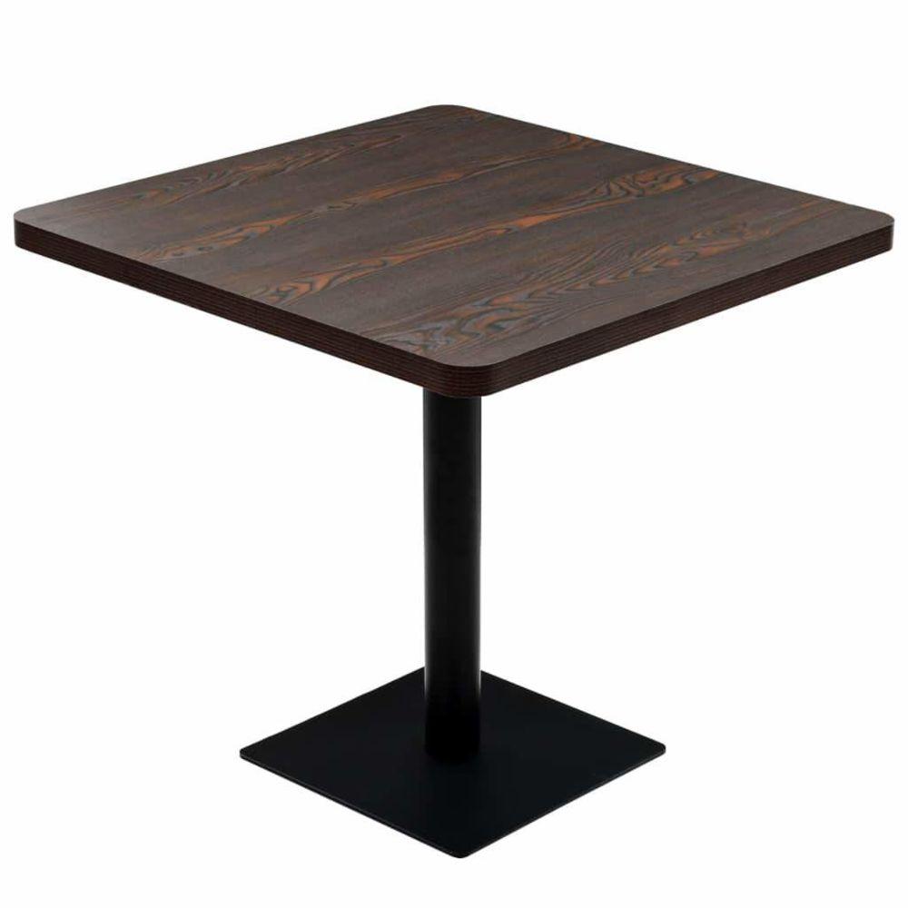 Helloshop26 Table haute mange debout bar bistrot MDF et acier carré 80 x 80 cm frêne foncé 0902107
