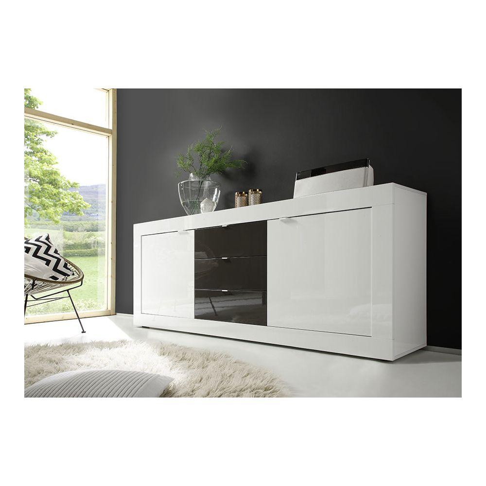 Sofamobili Buffet bahut blanc et gris laqué design FELINO 3