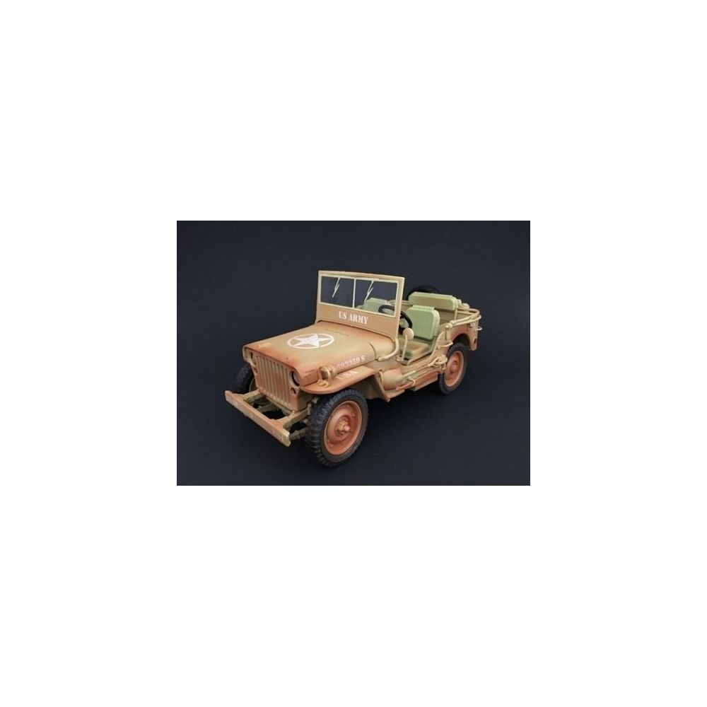 American Diorama American Diorama US Army WWII Jeep Vehicle Desert Color Weathered Version 1/18 Diecast Model Car
