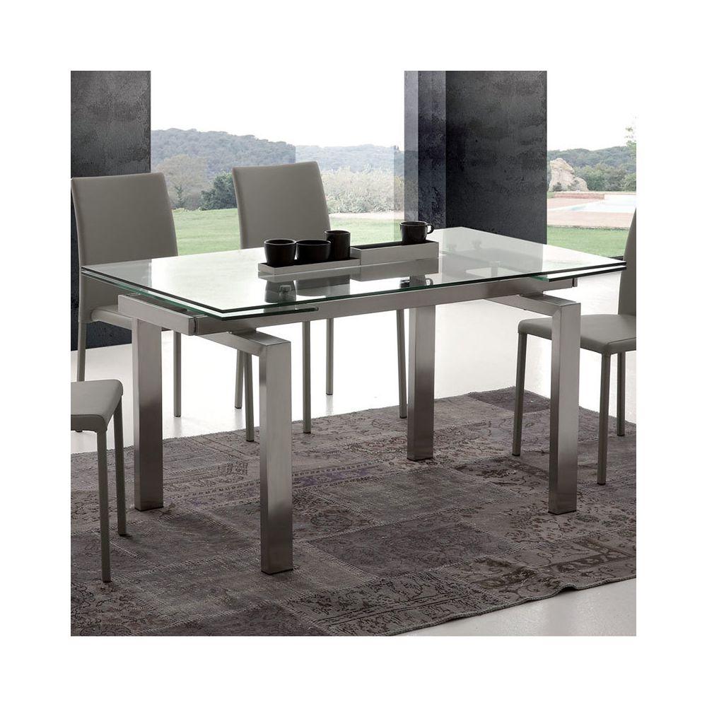 Nouvomeuble Table design en verre et acier brossé extensible AMANDA