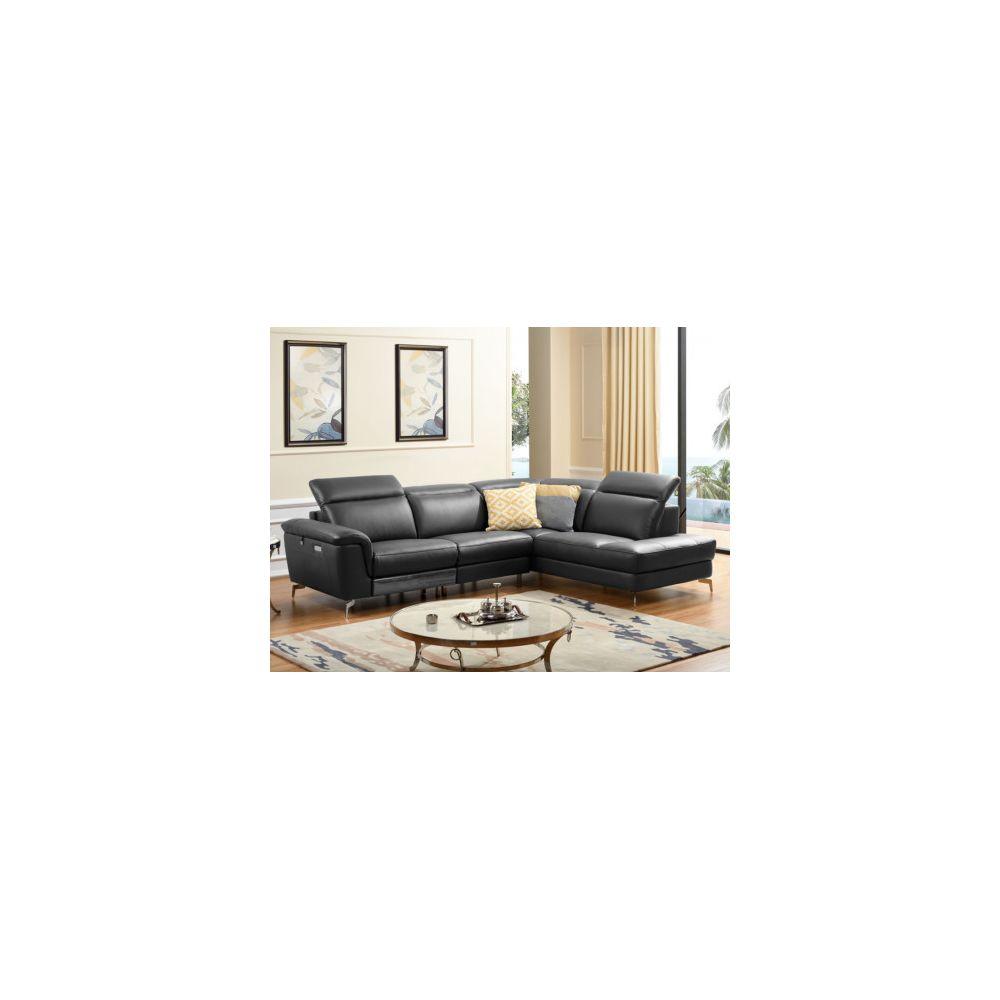 Linea Sofa Canapé d'angle relax électrique en cuir OLBIA - Noir - Angle droit