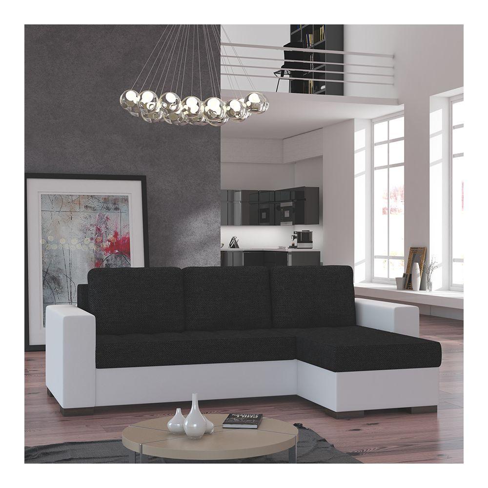 Kasalinea Canapé d'angle convertible noir et blanc EDUARDO 2