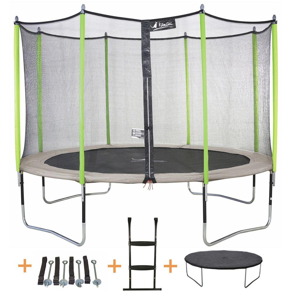 Kangui Kangui - Trampoline de jardin 426 cm + filet + échelle + bâche + kit d'ancrage JUMPI Taupe/Vert