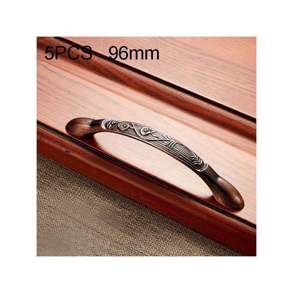 Wewoo Poignée d'armoire 5 PCS 6036-96 de meuble en bois massif poignées bronze rouge