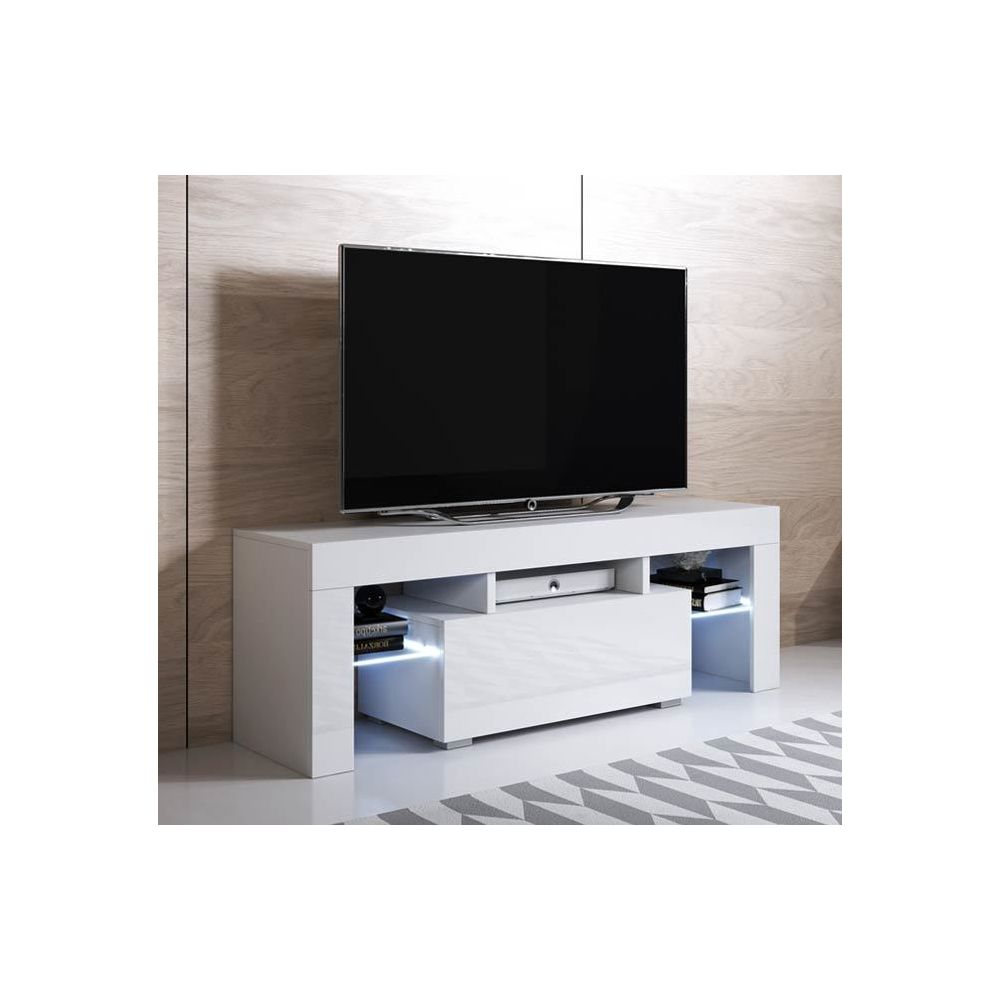 Design Ameublement Meuble TV modèle Elio (130x45cm) couleur blanc avec LED RGB