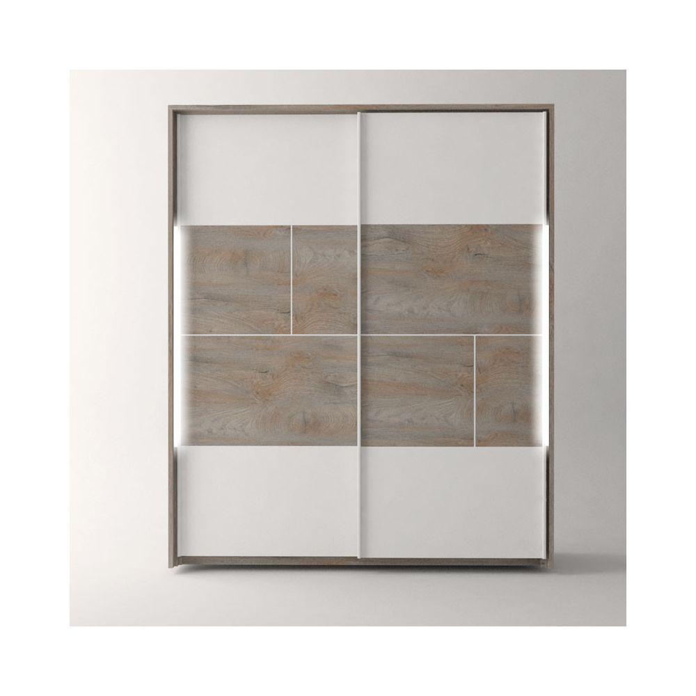 Tousmesmeubles Armoire 2 portes coulissantes à LEDs Chêne délavé/Blanc mat - FLORINE