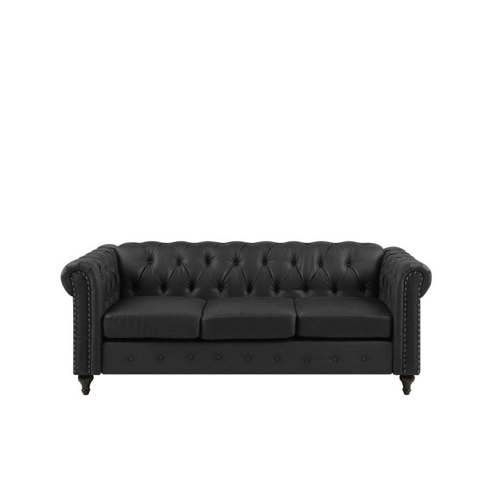 Beliani Beliani Canapé 3 places en simili-cuir noir CHESTERFIELD - noir