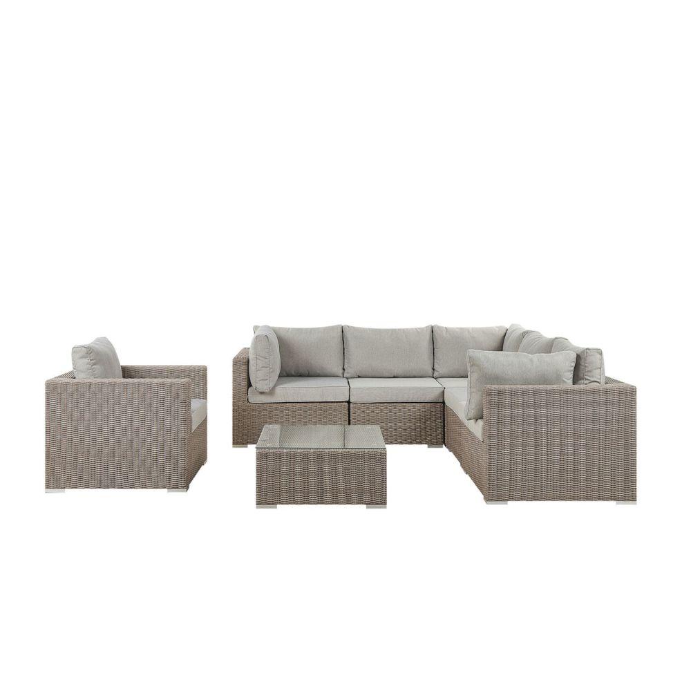 Beliani Beliani Salon de jardin 6 places en rotin taupe coussins gris clair CONTARE - gris clair